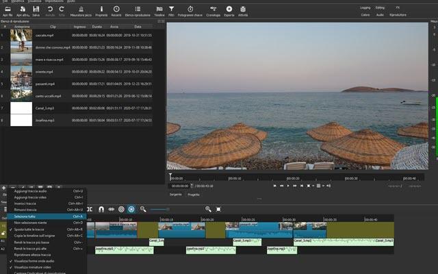 selezione multipla delle clip in shotcut