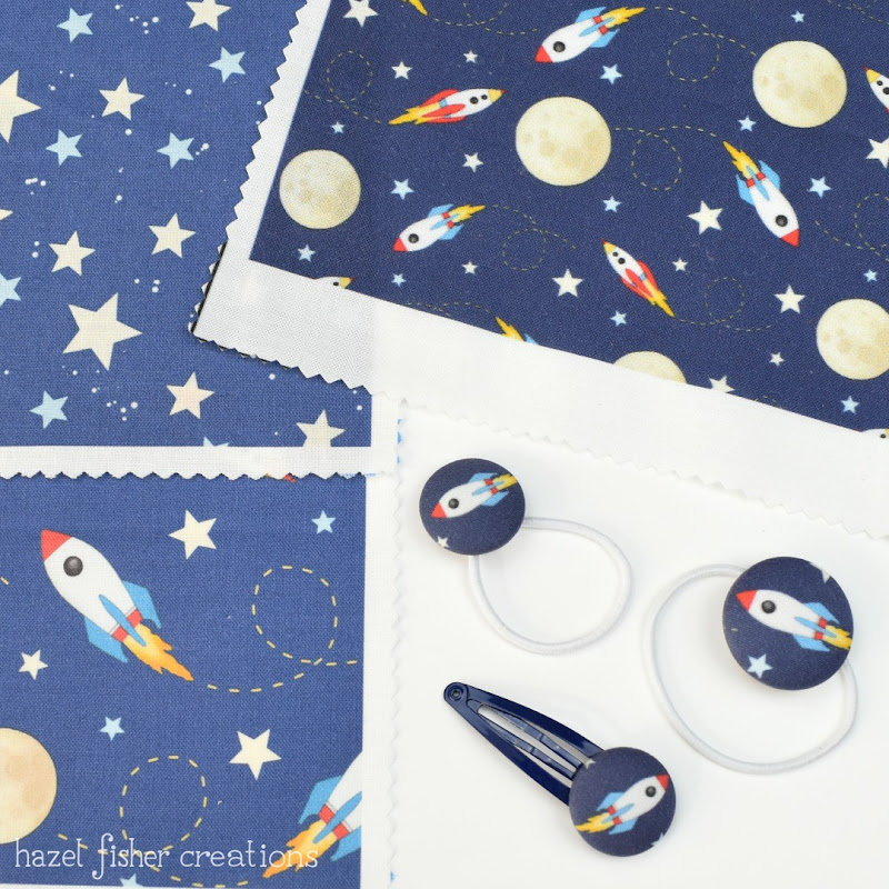 Ella and Mai hair accessories, Rockets fabric design by Hazel Fisher Creations