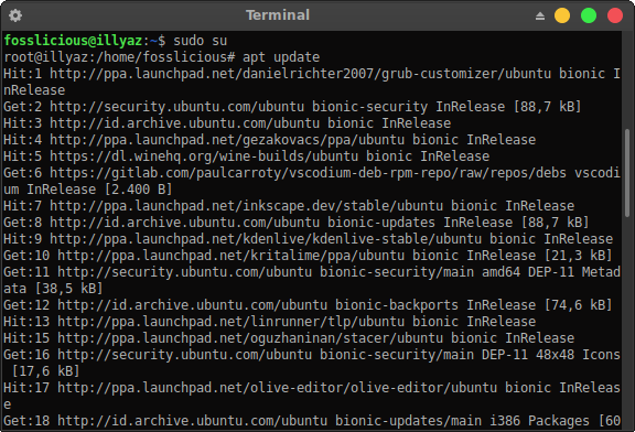 Updating on ubuntu terminal