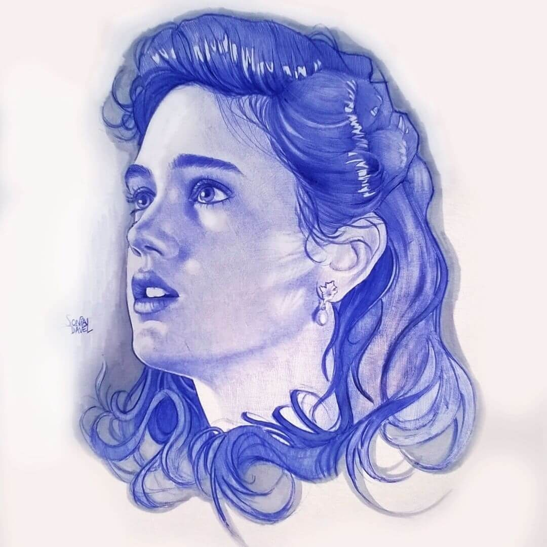 06-Classic-Hairstyle-Sonia-Davel-Indelible-Ballpoint-Pen-Portraits-www-designstack-co