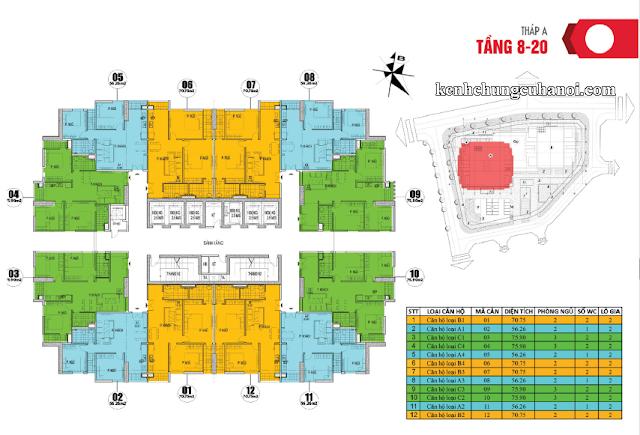 Mặt bằng tầng 8-20 tháp A Osaka Complex