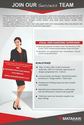 Lowongan Kerja Matahari Lippo Plaza Kupang Sebagai Visual Merchandising Supervisor