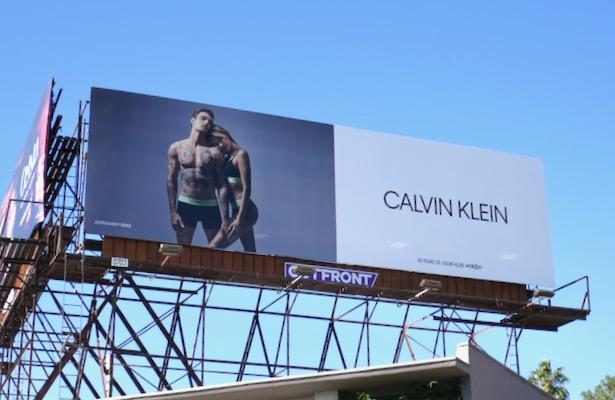 Calvin Klein underwear Justin Hailey Bieber billboard