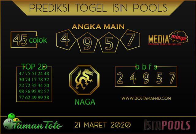 Prediksi Togel ISIN TAMAN TOTO 21 MARET 2020
