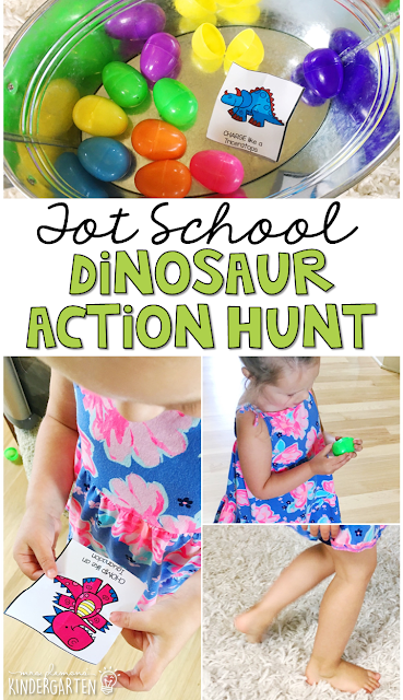 Learning is more fun when it involves movement! Practice moving like a dinosaur with this dinosaur action hunt gross motor activity inspired by the book Stomp, Dinosaur, Stomp by Margaret Mayo. Great for tot school, preschool, or even kindergarten!