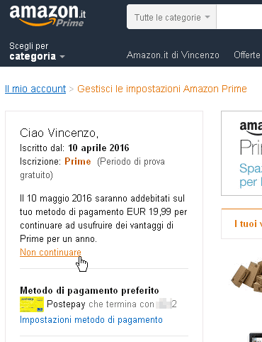Link per annullare Amazon Prime