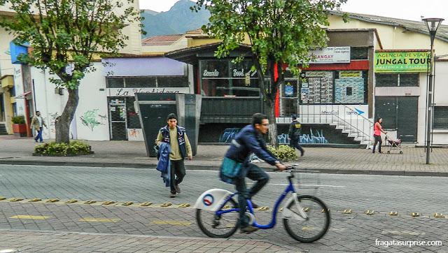 Ciclovia no bairro de La Mariscal, Quito
