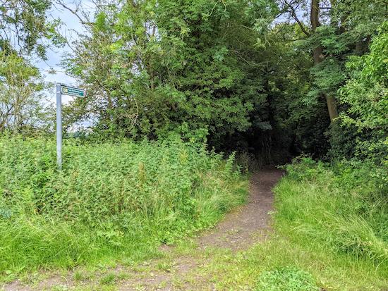 Great Gaddesden restricted byway 14 leaving Bradden Lane - point 18