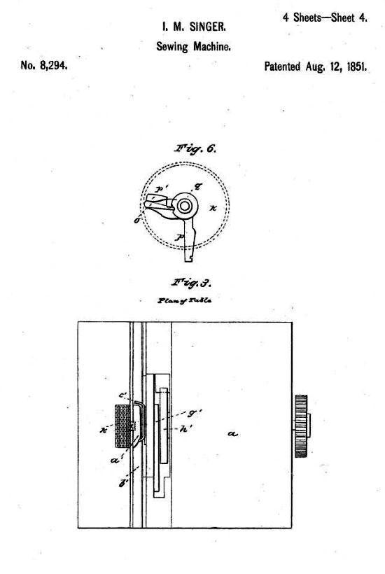 Singer sewing machine patent 1851 - sheet 4