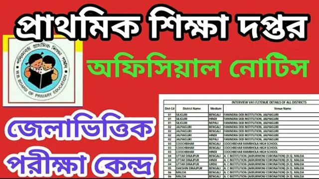 primary education department issued notification regarding vanue details for primary tet interview