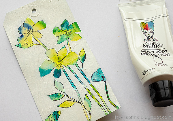 Layers of ink - Flowers on white background tutorial by Anna-Karin Evaldsson.