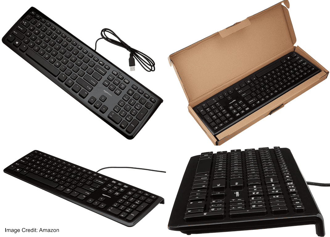 The picture of AmazonBasics wired keyboard of KU-0833 model. The color of this keyboard is black and the weight is 522 gram. Furthermore, It comes with 1.33 meter long USB cable. Moreover, The warranty of this keyboard is 1 year.