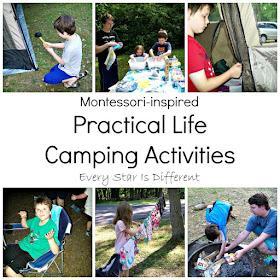 Montessori-inspired Practical Life Camping Activities