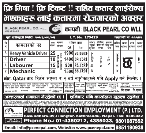 Free Visa Free Ticket Jobs in Qatar for Nepali, Salary Rs 56,772
