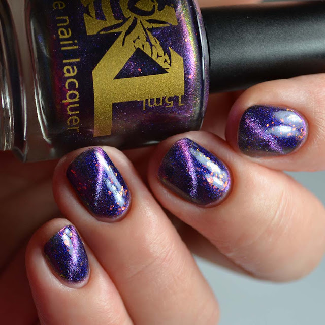 blue to purple magnetic multichrome nail polish blue to purple glow swatch