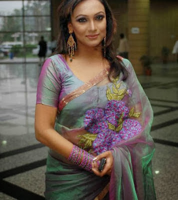 Bangladeshi Model Bindu Wearing Transparent Saree showing her blouse Photos, Picture Gallery, Wallpaper