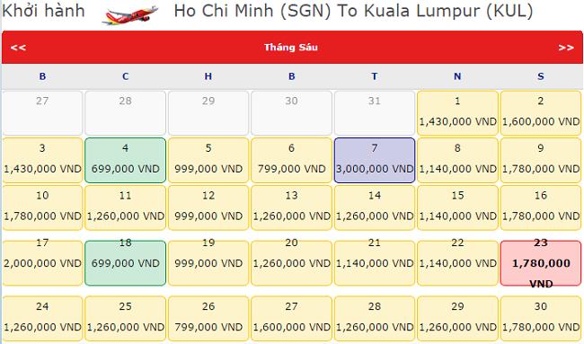 Giá vé máy bay đi Kuala Lumpur tháng 6 hãng Vietjet Air