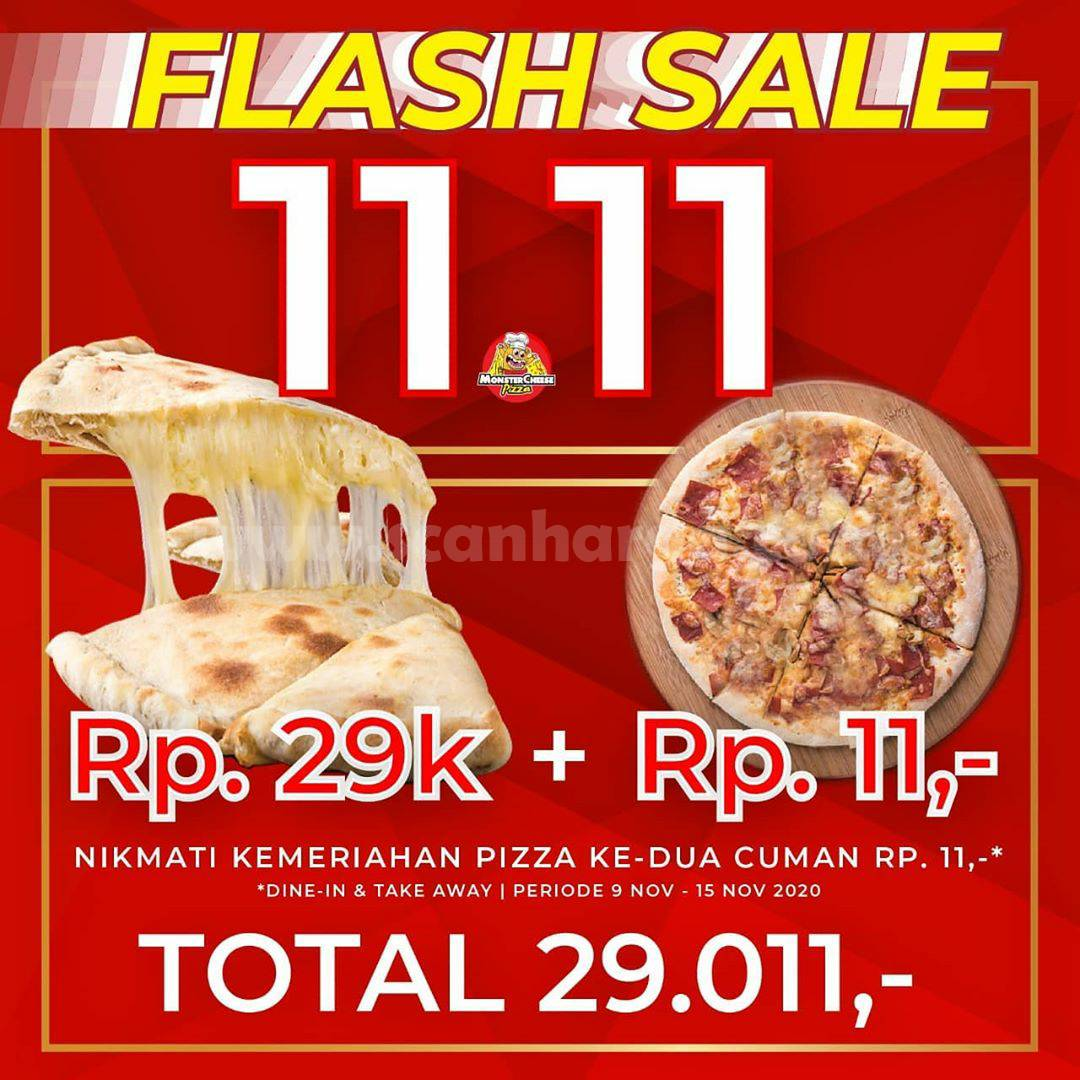 Promo Monstercheese Pizza Flash Sale 11.11