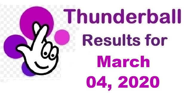 Thunderball Results for Wednesday, March 03, 2020