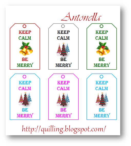12 Days of Christmas Free Keep Calm Be Merry Gift Tags from Antonella at www.quilling.blogspot.com #free #printable #Christmas
