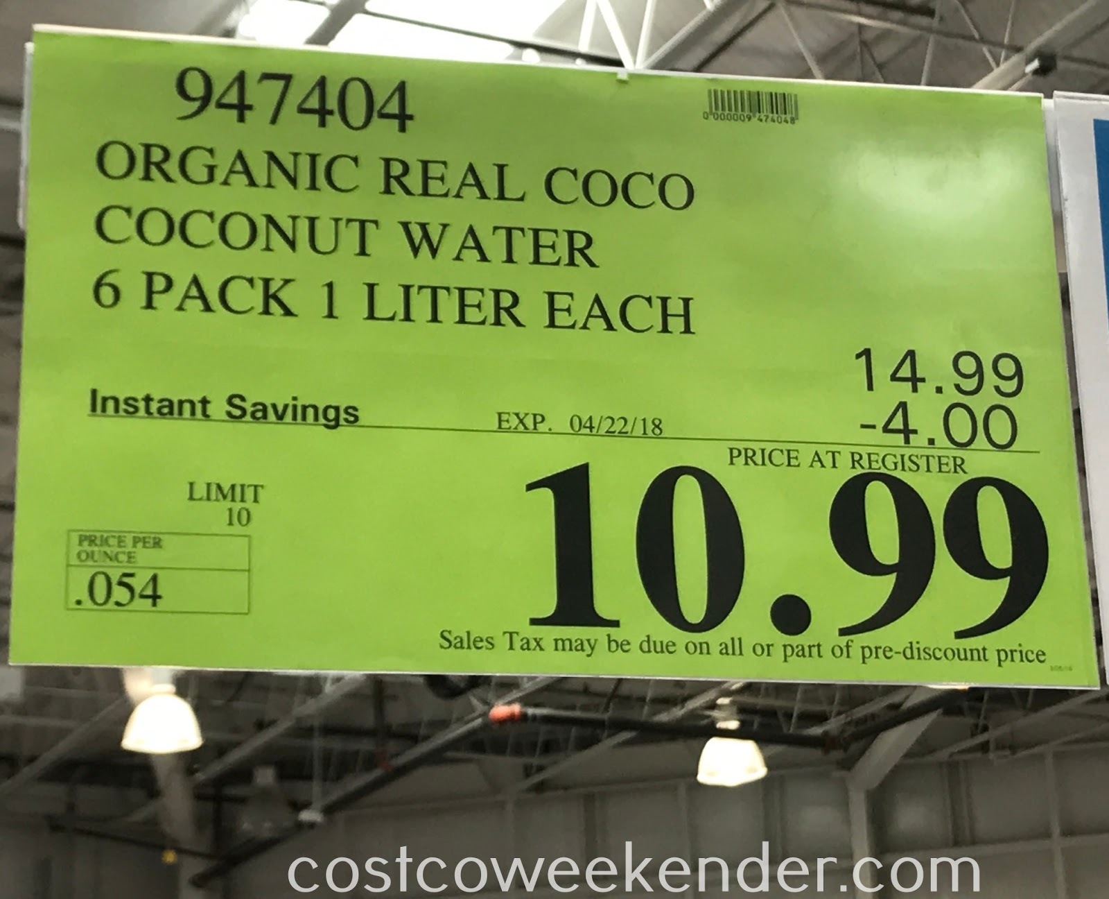 Deal for pack of 6 Real Coco Organic Pure Coconut Water at Costco