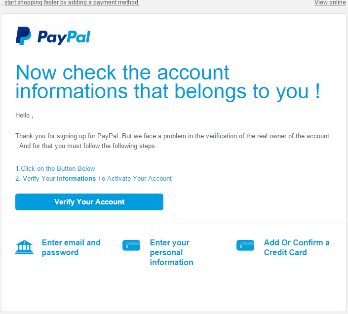 Paypal Scam Page Letter
