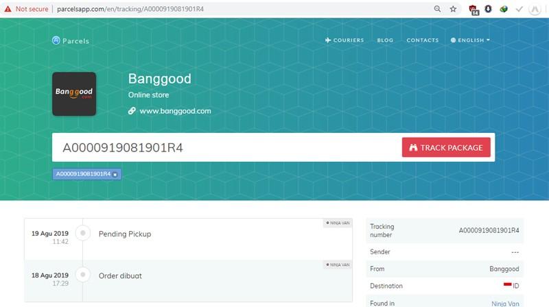 Cek nomor resi Banggood di parcelsapp