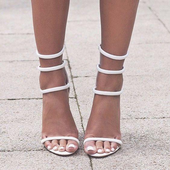 Nada Adelle Public Desire White Heel Sandals