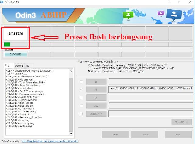 Bar proses akan berjalan yang menandakan proses flash Samsung j1 ace.
