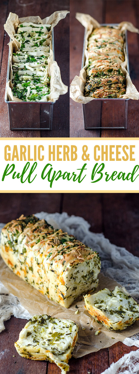 GARLIC HERB AND CHEESE PULL APART BREAD #vegetarian #healthyrecipes