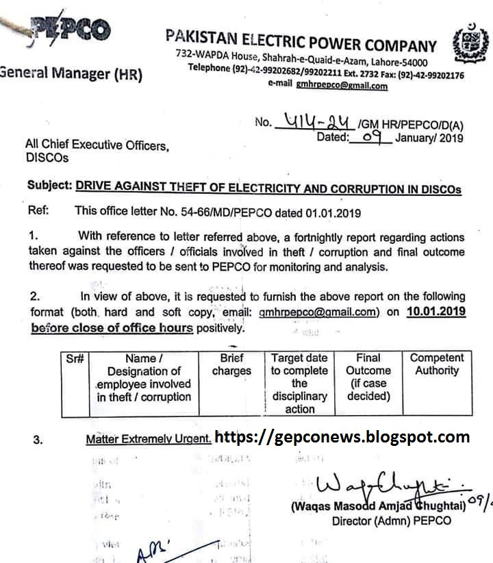 Drive Against Theft of Electricity and Corruption in DISCOS