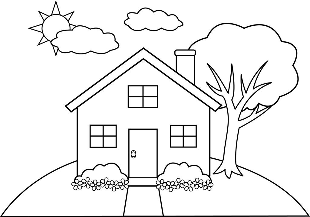 Fun learn free worksheets for kid for House drawing easy