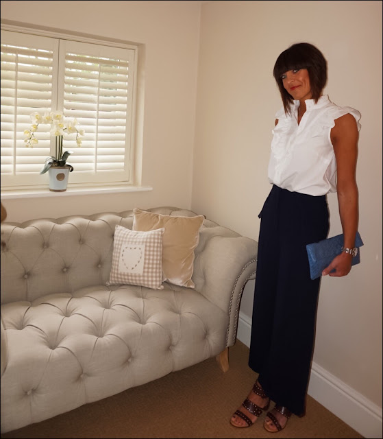 My Midlife Fashion, H&M Ruffle blouse, marks and spencer limited edition wide leg trousers, topshop venus stud block heel sandals, snake print clutch