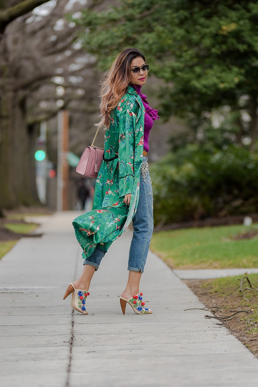 HOW TO wear a kimono without looking like you rolled out of bed, green kimono with embellished boyfriend jeans, dc blogger, style, fashion, street style, ruffled sweater, pom pom heels, gucci p;ink marmont bag, ray ban , myriad musings