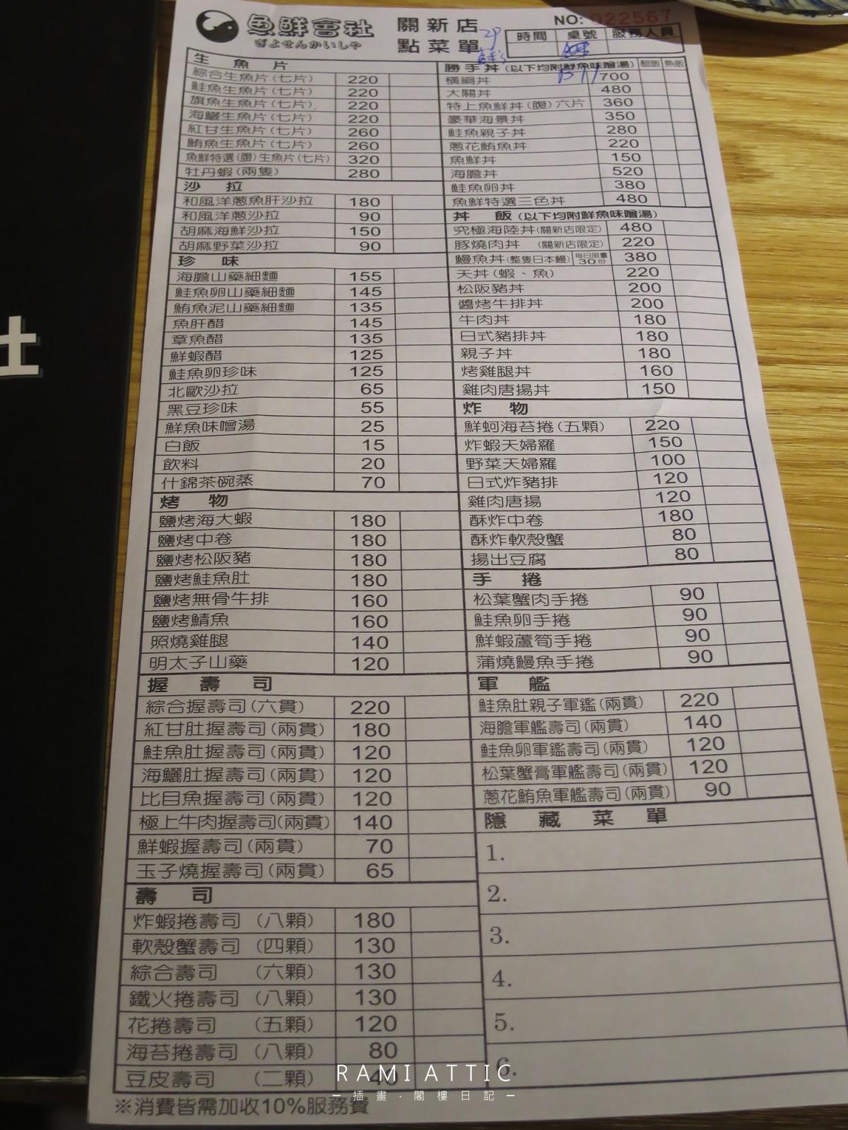 [食記] 新竹魚鮮會社(關新店) - 平價生魚片日本料理丼飯菜單 臺灣插畫家Rami(拉米)的水彩旅行日記