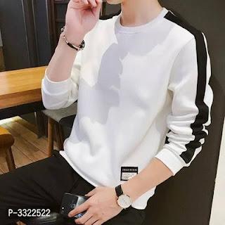 Men's Self Pattern Cotton Blend T-Shirt