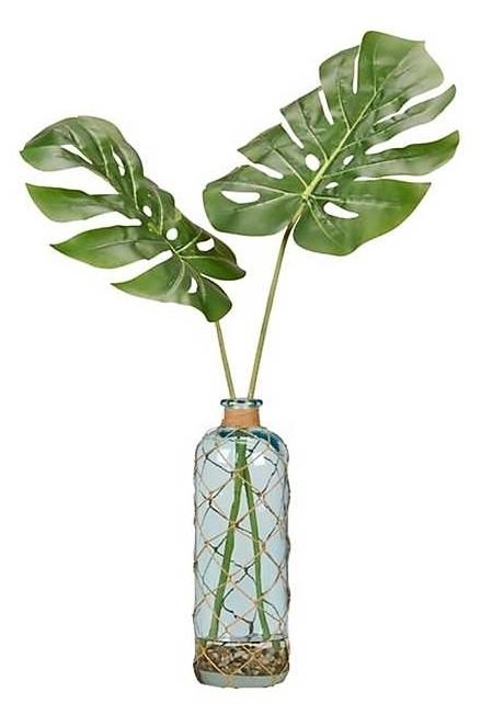 Blue Bottle Vase with Palm Leaf Fronds