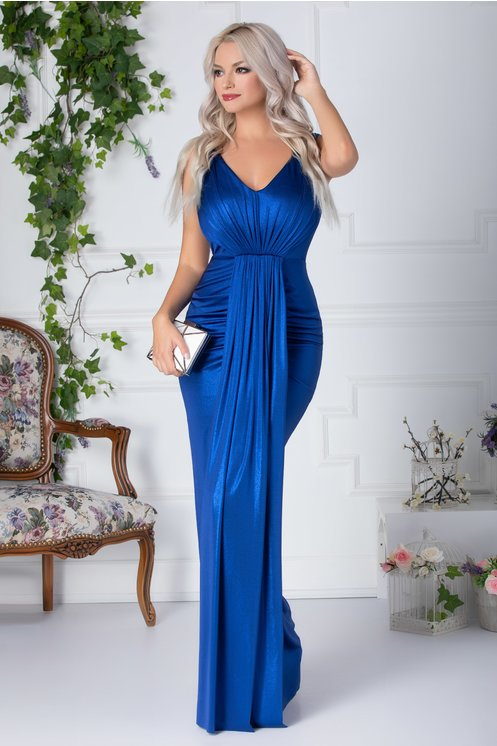 Rochie Lorys lunga albastru metalizat cu pliuri la bust