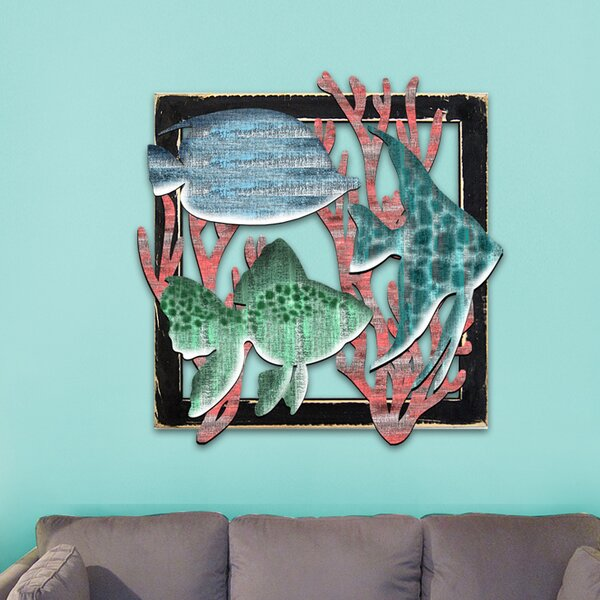 Colorful Fishes in Frame Wooden Wall Decor
