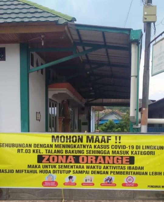 Satu RT di Kelurahan Talang Bakung Masuk Zona Oranye