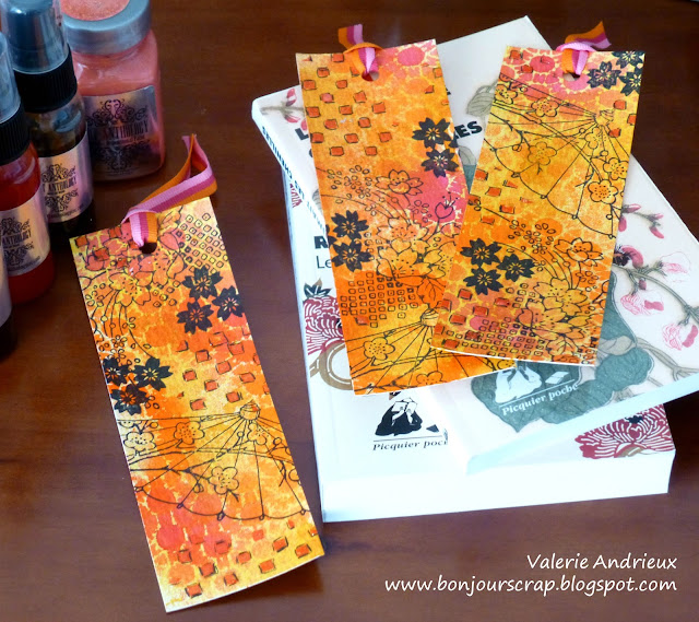 Japanese style bookmarks with Art Anthology paints, stamps and mixed media techniques