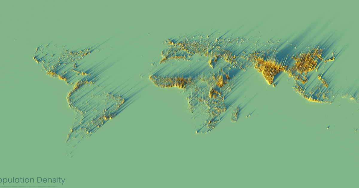 How to make a 3D population density render for any country in the world