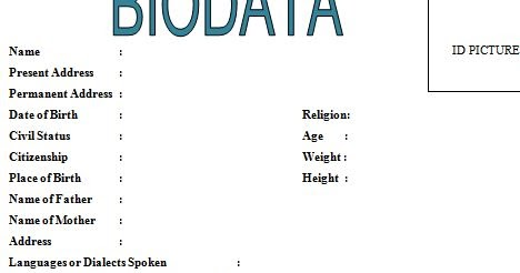 6 Simple Biodata Format For Job Application Sample Contracts