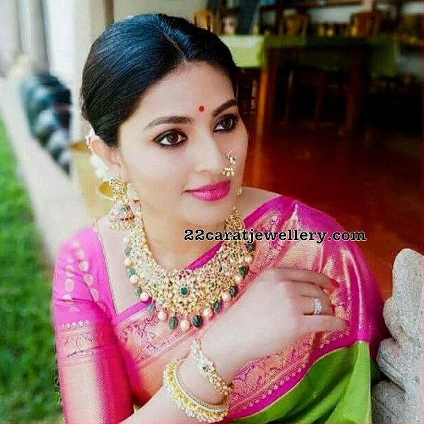 Sneha in Antique and Kundan Chokers