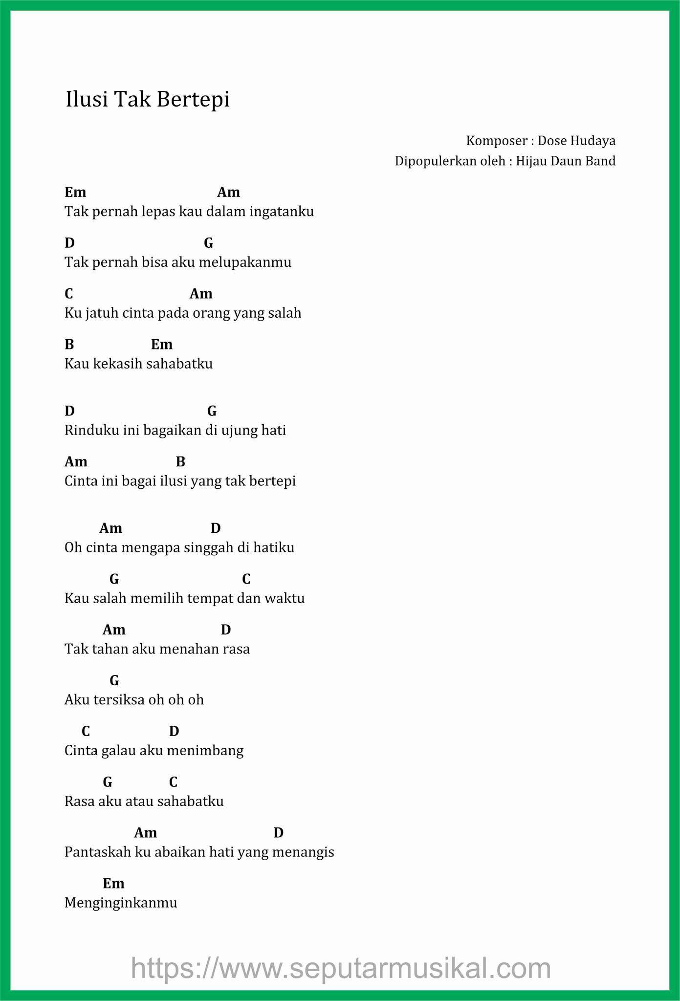 Chord Naif Bencinta Untuk Mencinta C : chord, bencinta, untuk, mencinta, Hijau, Ilusi, Bertepi, Lirik, Kunci, Gitar