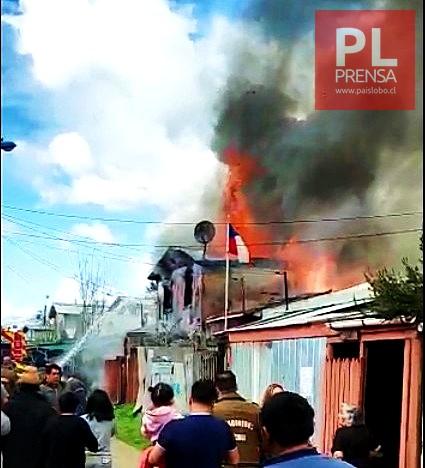 Osorno: incendio deja dos familias damnificadas