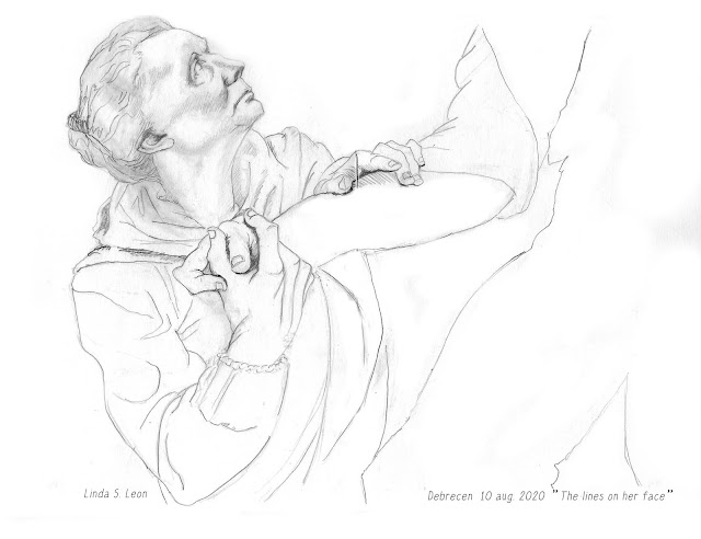Debrecen (Hu) aug. 2020 - Sketching the statue of Kossuth Laos, sketchbook drawing on location with graphite by Linda S. Leon