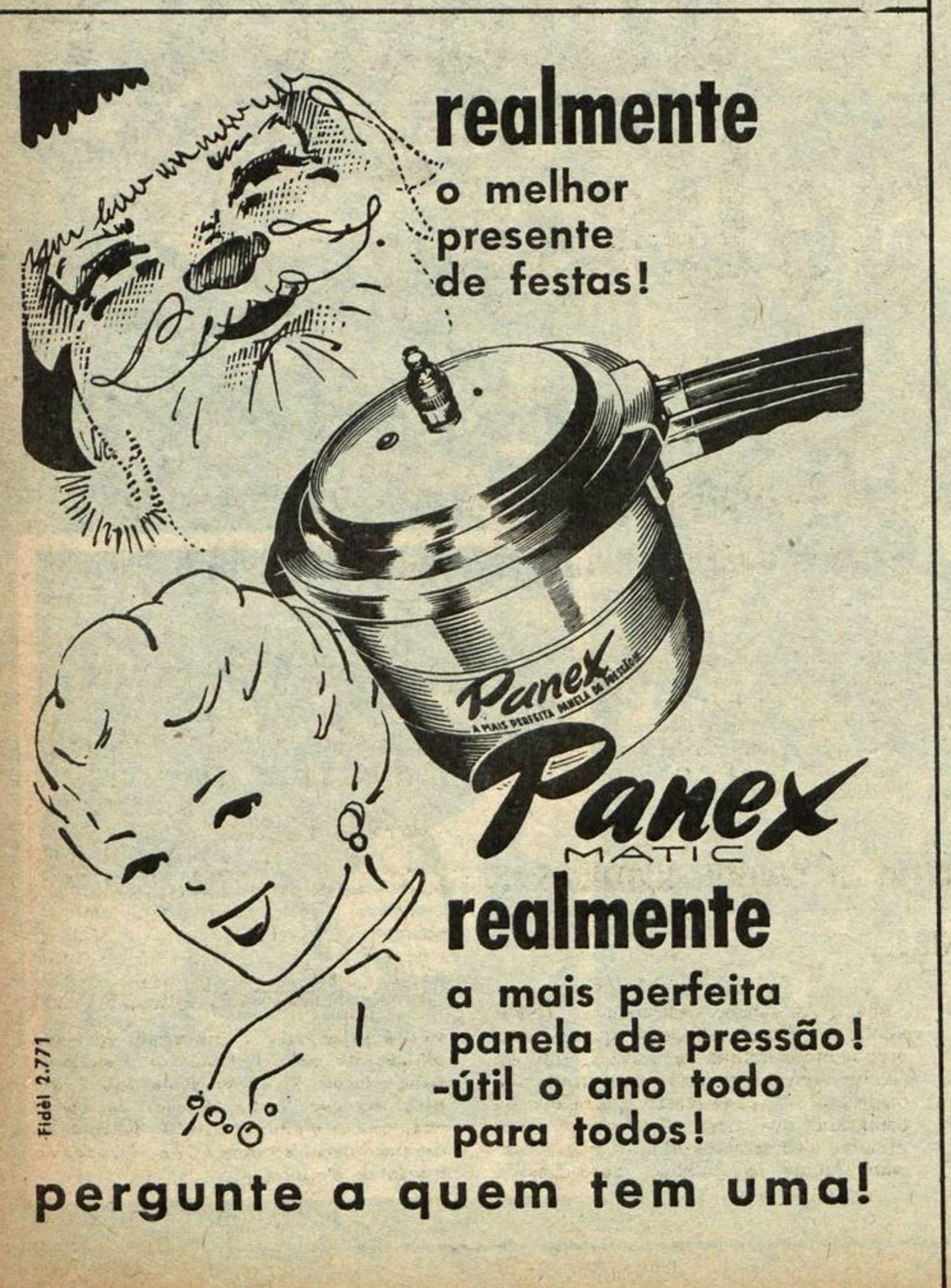 Anúncio da Panex promovendo sua panela de pressão em 1953