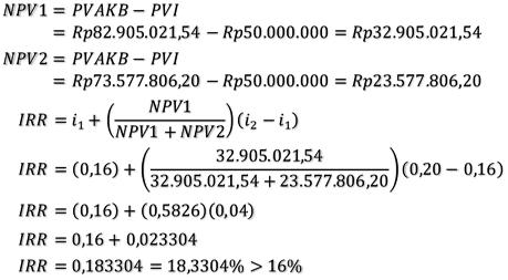 besar NPV dan IRR