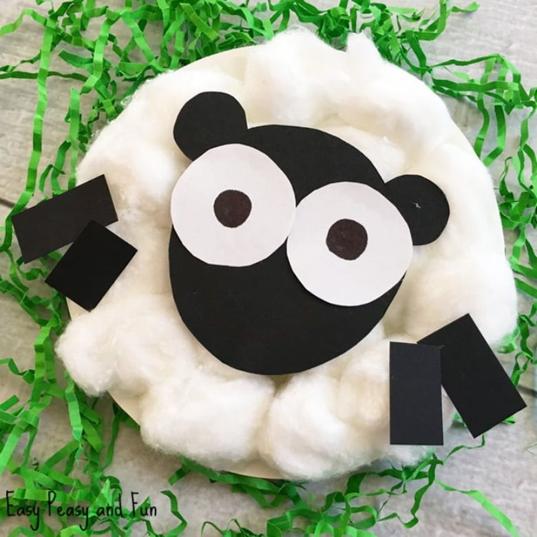 Easter crafts for toddlers - cotton ball sheep craft